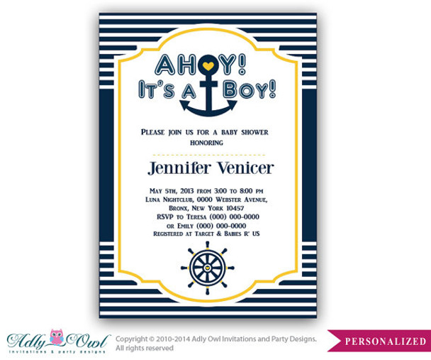 Navy Yellow Nautical Baby Shower Digital Invitation for Baby Boy