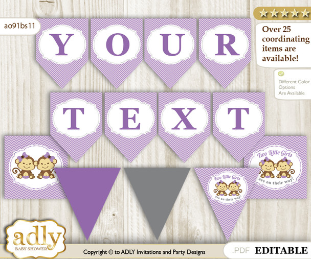 Personalized Twins Monkey Printable Banner for Baby Shower, Lavender, Girls