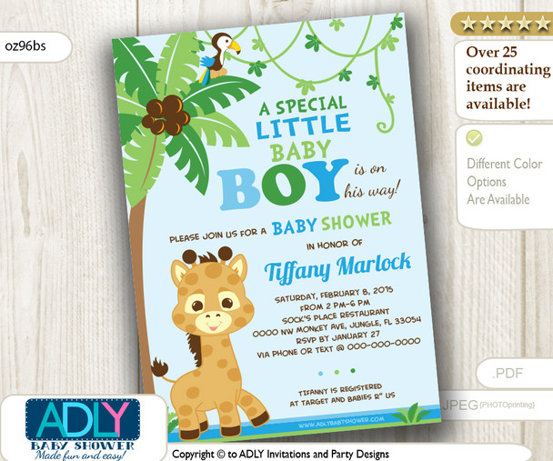 Boy Giraffe Invitation for baby shower, blue, lime green, safari