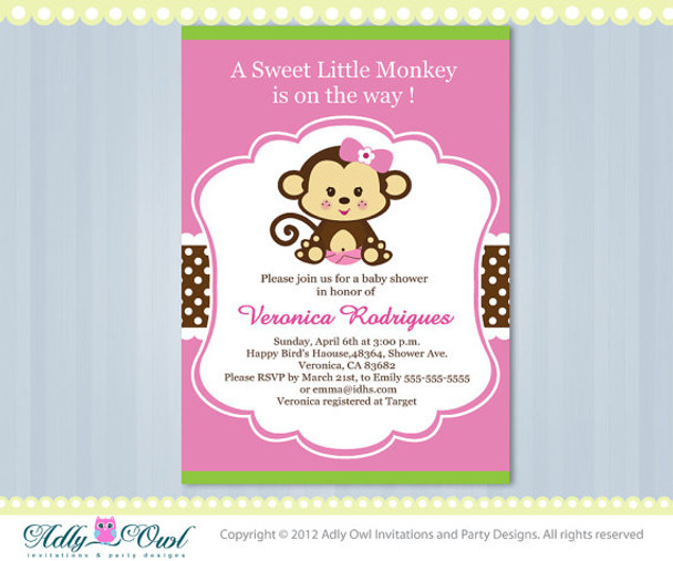 Pink Lime Green Girl Monkey Jungle Monkeys Baby Shower Printable DIY Party Invitation For In Brown