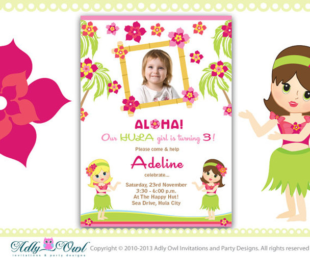 Personalized Hula Girl Baby Shower Printable Diy Party Invitation For Beach Party Aloha