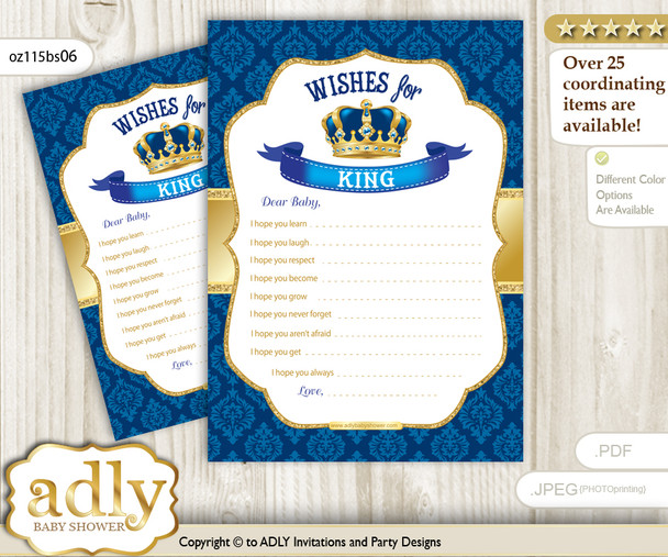 King Wishes for a Baby, Well Wishes for a Little Printable Card, Royal, Blue Gold