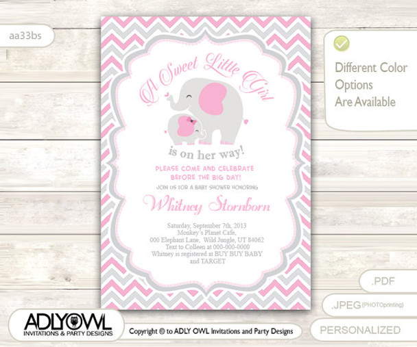 Grey Pink Elephant Baby Shower Invitation Card A Sweet Little Girl