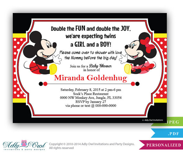 Twins Baby Shower Mickey And Minnie Mouse Baby Shower Invitation