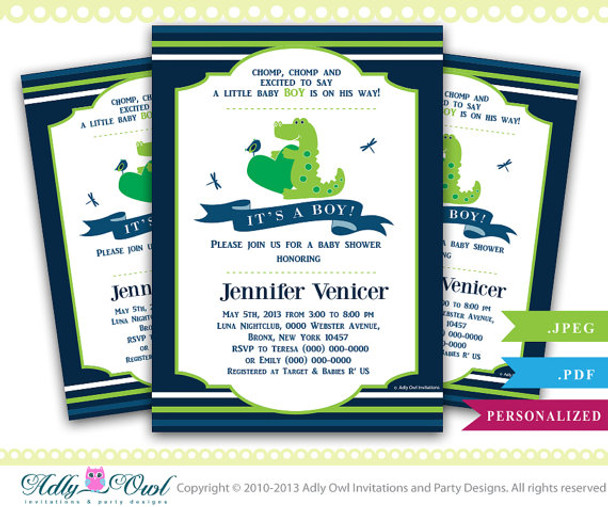 Boy Crocodile Alligator Baby Shower InvitationSwamp With Cute Crocodilebirddragonfly