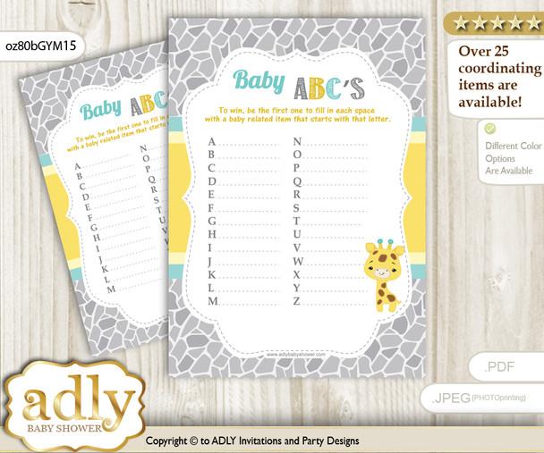 Baby Giraffe Baby ABC's Game, guess Animals Printable Card for Baby Giraffe Shower DIY – Neutral