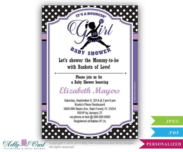 online retailer 2254f 5a7b6 Bouncin  Girl Baby Shower Invitation,Air Jordan inspired baby shower in  black, pruple