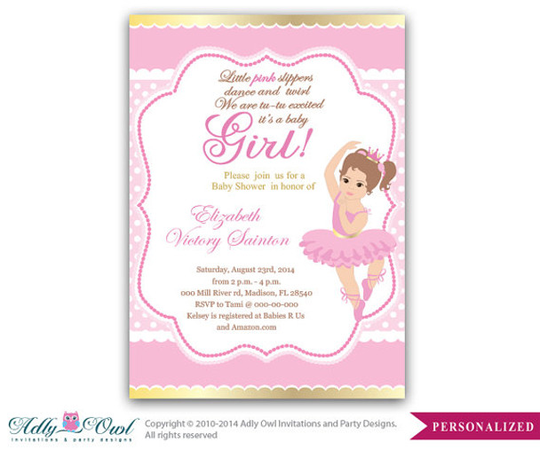 graphic about Printable Baby Cards identified as Female Ballerina Invitation, Female Little one Card for a kid shower.Woman ballet,crown,princess gold purple printable invitation