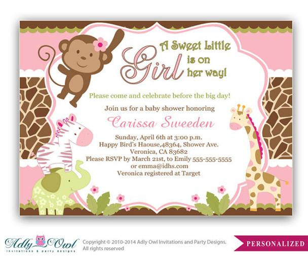 Girl Monkey Jungle Safari Invitation Baby Shower Card For A