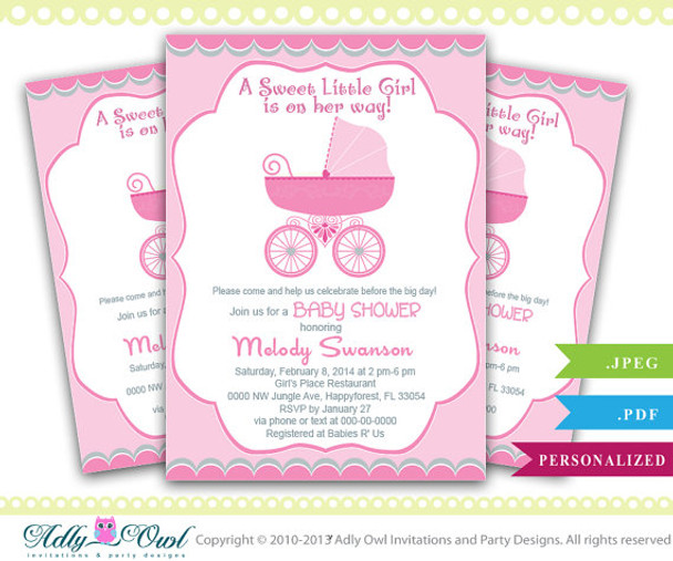 picture relating to Baby Shower Invitation Printable identify Lady Carriage Stroller Kid Shower Invitation, Printable Female Carriage Boy or girl Shower Card for a kid shower. Apple eco-friendly, grey, printable