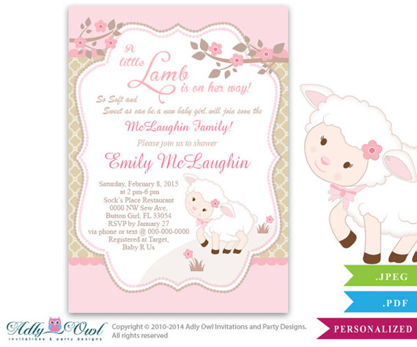 graphic regarding Printable Shower Invitations known as Small Lamb Woman Boy or girl Shower Invitation for a Refreshing Child Female, Printable Sheep/Lamb Card for a child shower,crimson, brown, polka
