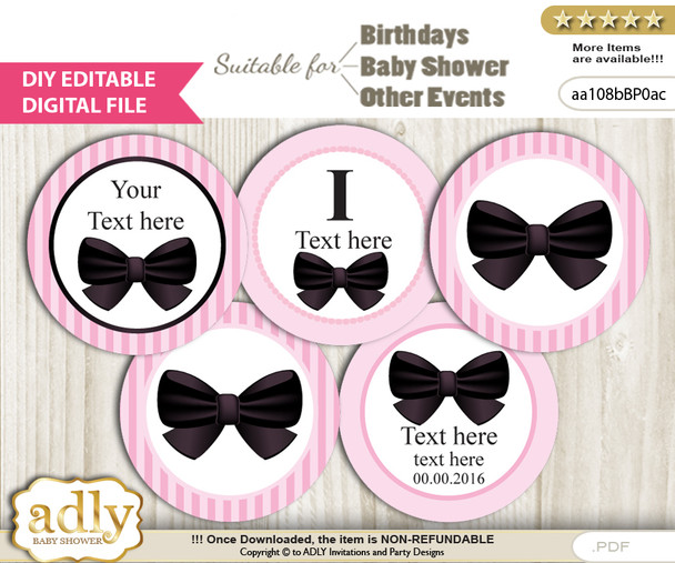 Text Editable Girl Bow Cupcake Toppers Digital File, DIY print at home, suitable for birthday, baby shower, baptism