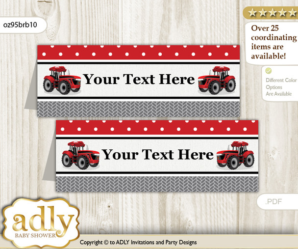 Text Editable Printable Boy Tractor Buffet Tags or Food Tent Labels  for a Baby Shower or Birthday , Red Black, Farmer