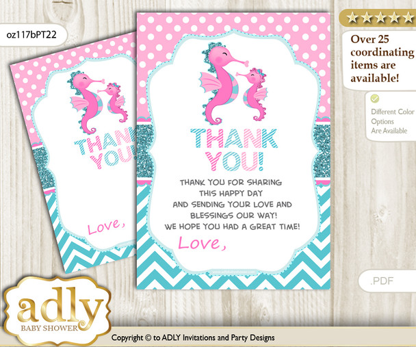 Girl  Seahorse Thank you Cards for a Baby Girl Shower or Birthday DIY Pink teal, Glitter