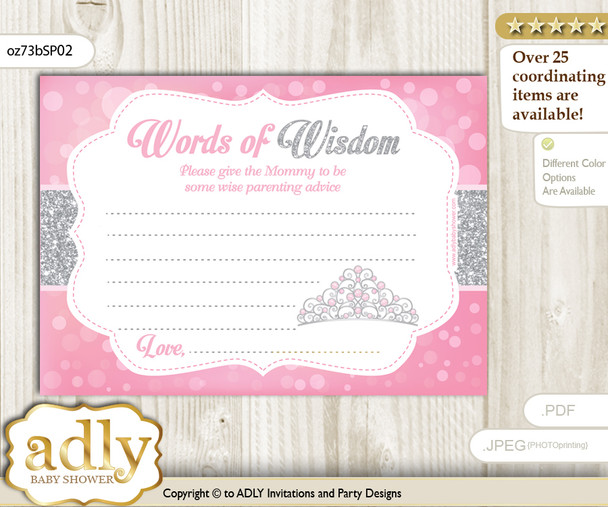 Pink Grey Princess Tiara Words of Wisdom or an Advice Printable Card for Baby Shower, Crown