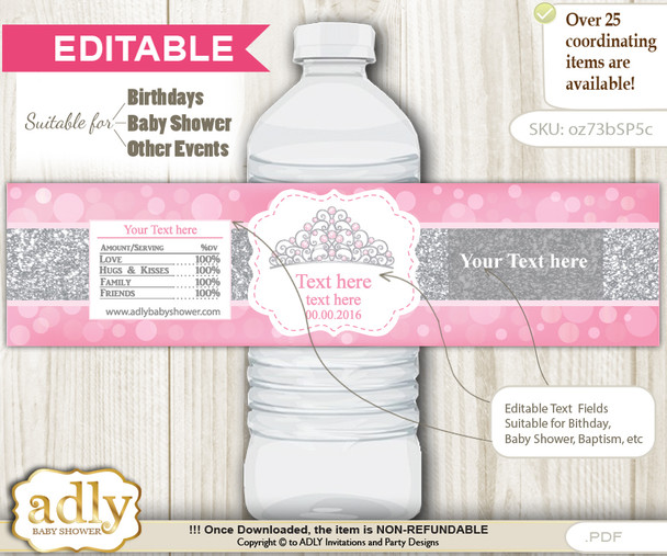 DIY Text Editable Princess Tiara Water Bottle Label, Personalizable Wrapper Digital File, print at home for any event