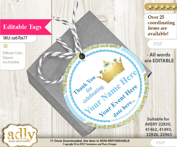 Blue Prince Thank You Tags, Circle Favor Tags Personalizable for Shower, Birthday