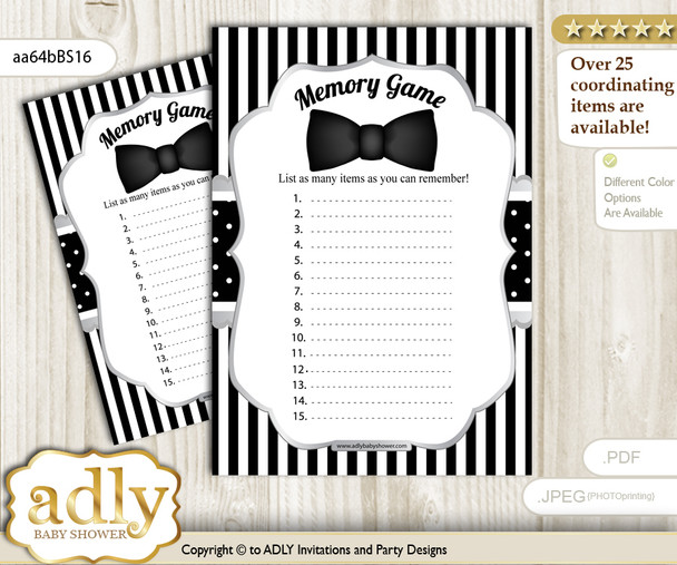 Boy Bow Tie Memory Game Card for Baby Shower, Printable Guess Card, Black Silver, Little Man