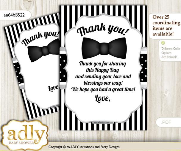 Boy  Bow Tie Thank you Cards for a Baby Boy Shower or Birthday DIY Black Silver, Little Man