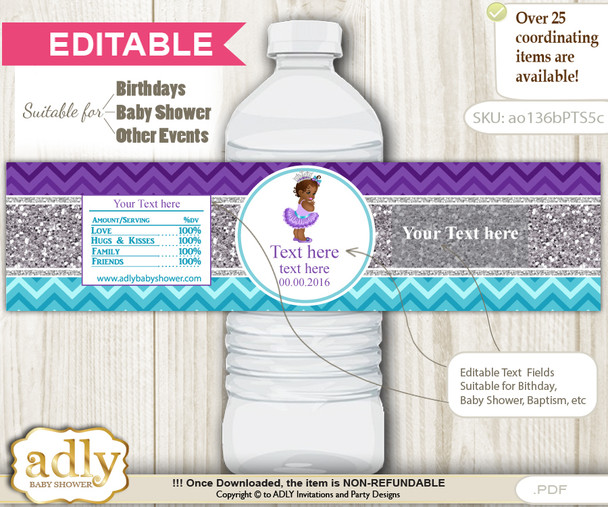 DIY Text Editable African Princess Water Bottle Label, Personalizable Wrapper Digital File, print at home for any event  n