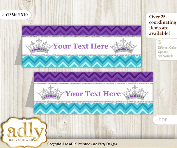 DIY Text Editable Printable African Princess Buffet Tags or Food Tent Labels  for a Baby Shower or Birthday , Purple Teal, Silver