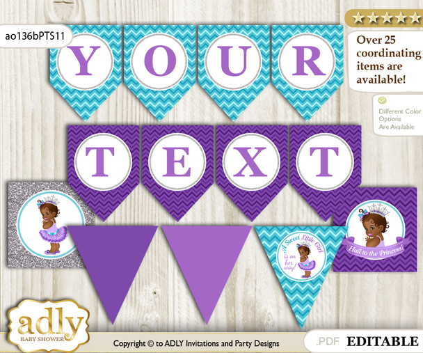 DIY Personalizable African Princess Printable Banner for Baby Shower, Purple Teal, Silver