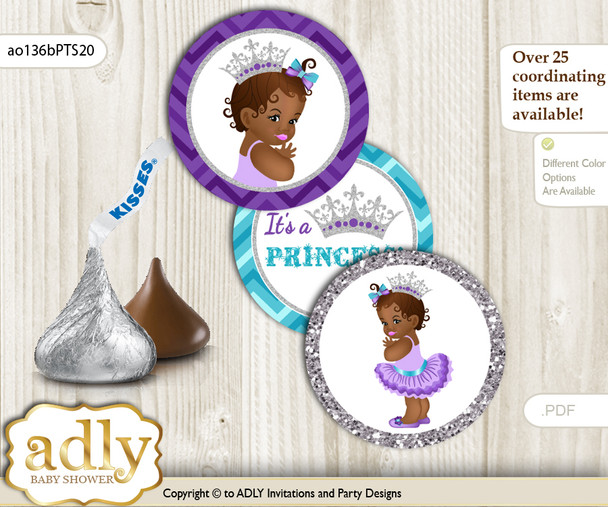 Printable  African Princess Candy Kisses for Baby African Shower DIY Purple Teal , Silver