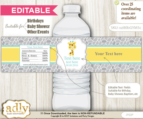 DIY Text Editable Baby Giraffe Water Bottle Label, Personalizable Wrapper Digital File, print at home for any event