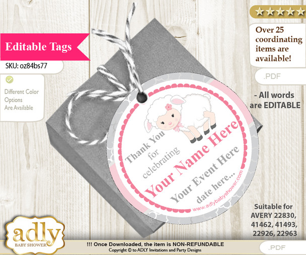 Pink Lamb Thank You Tags, Circle Favor Tags Personalizable for Shower, Birthday