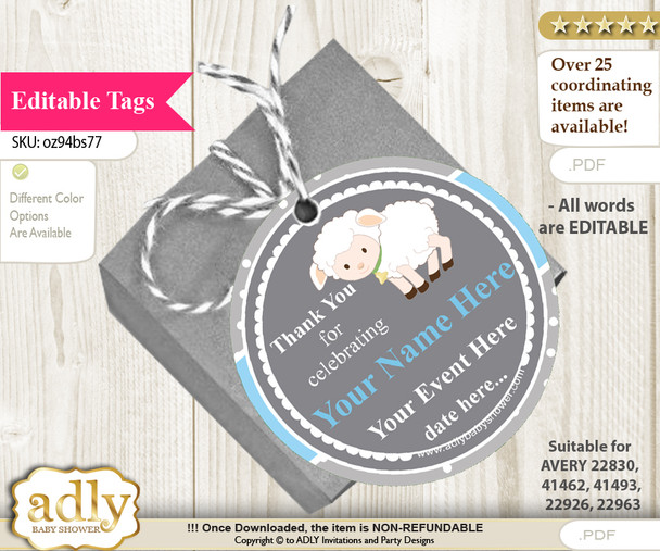 Boy Lamb Thank You Tags, Circle Favor Tags Personalizable for Shower, Birthday