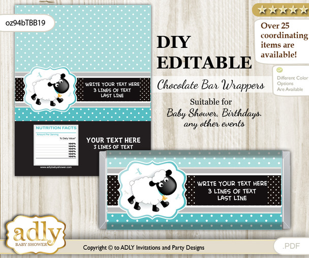 DIY Personalizable Boy Lamb Chocolate Bar Candy Wrapper Label for Boy  baby shower, birthday Turquoise , editable wrappers n