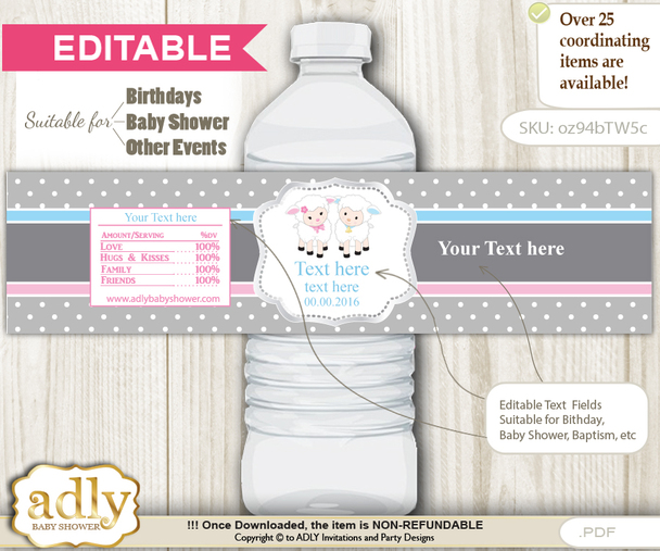DIY Text Editable Twins Lamb Water Bottle Label, Personalizable Wrapper Digital File, print at home for any event  h