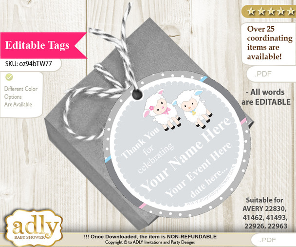 Twins Lamb Thank You Tags, Circle Favor Tags Personalizable for Shower, Birthday h