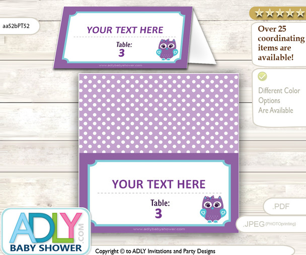 Free Place Card for Girl Owl Baby Shower