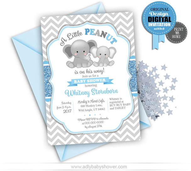 Baby Blue Gray Chevron Peanut Invitation for Baby Shower