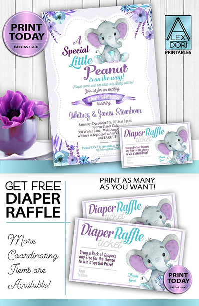 Purple Teal Gray Elephant baby shower invitation card- unisex printable-Free Diaper raflle, Lavender, peanut, turquoise