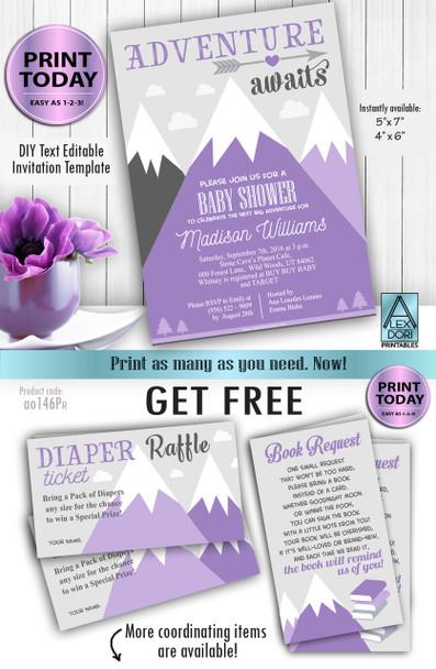Adventure awaits ,Purple gray baby shower invitation,Girl template Free book,Diaper raffle