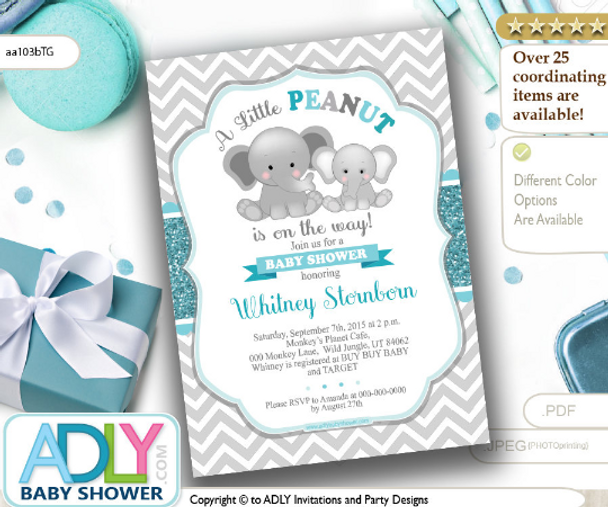 Peanut Elephant Unisex Digital Invitation Turqoise And Gray Baby
