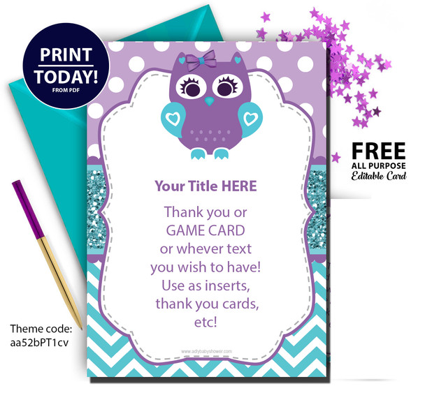 Baby Girl owl digital editable all purpose card,purple and teal owl,baby shower  DIY card chevron