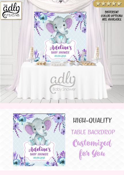 Peanut purple and teal elephant Backdrop, baby shower candy Table Digital Backdrop, Birthday Party, Gray Lavender Elephant, Flower, Floral 4x4 or 4wx6h