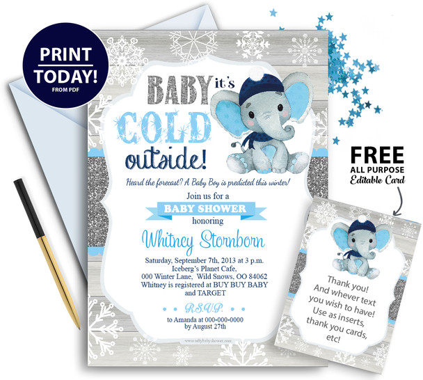 Snow blue gray white peanut elephant winter hat baby shower invitation with free mutli purpose card, snowflakes, snow, cold, forzen invites.