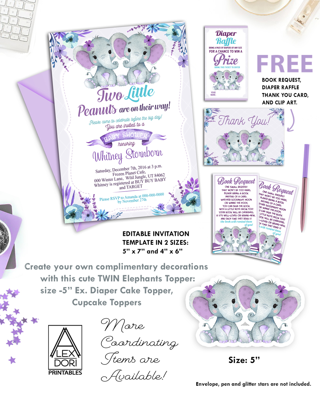 graphic regarding Free Baby Shower Invitations Printable called Dual Elephants Red Turquoise Little one Shower Invitation Printable Invitation - Peanuts Invite-Female Elephant Child Shower-Absolutely free Diaper Raffle