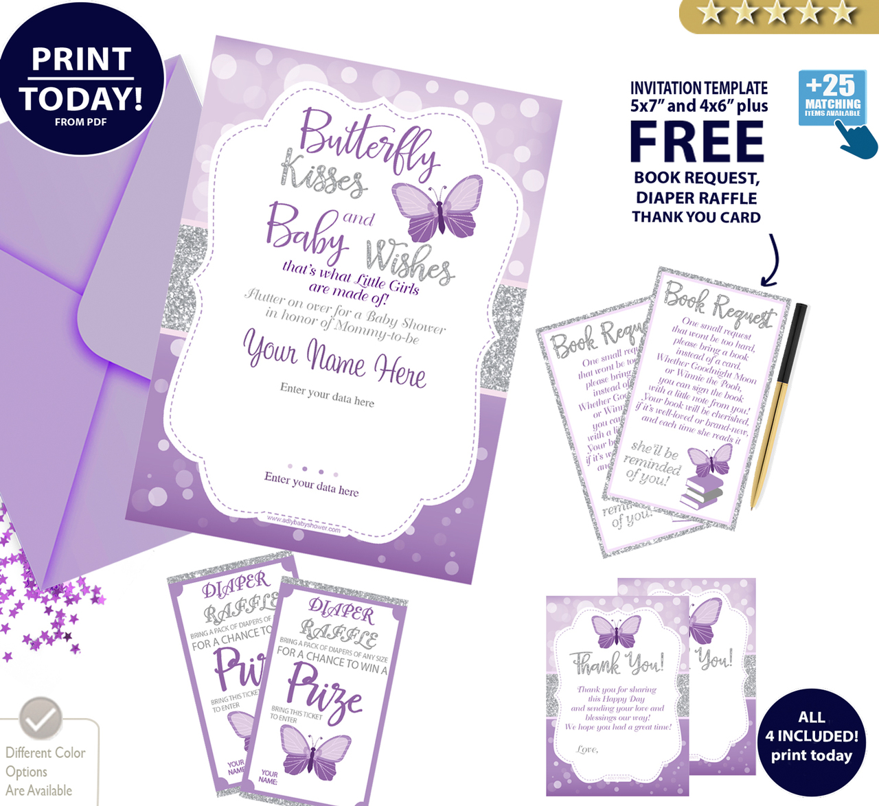 Butterfly Kisses Invitation In Purple And Silver With Glitters For Baby Shower Editable With Free Book Request Thank You Card And Diaper Raffle