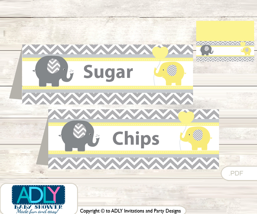 printable boy elephant buffet tags or food tent labels for a baby