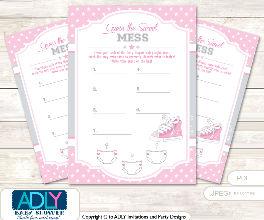 Girl Sneakers Dirty Diaper Game Or Guess Sweet Mess Game For A Baby