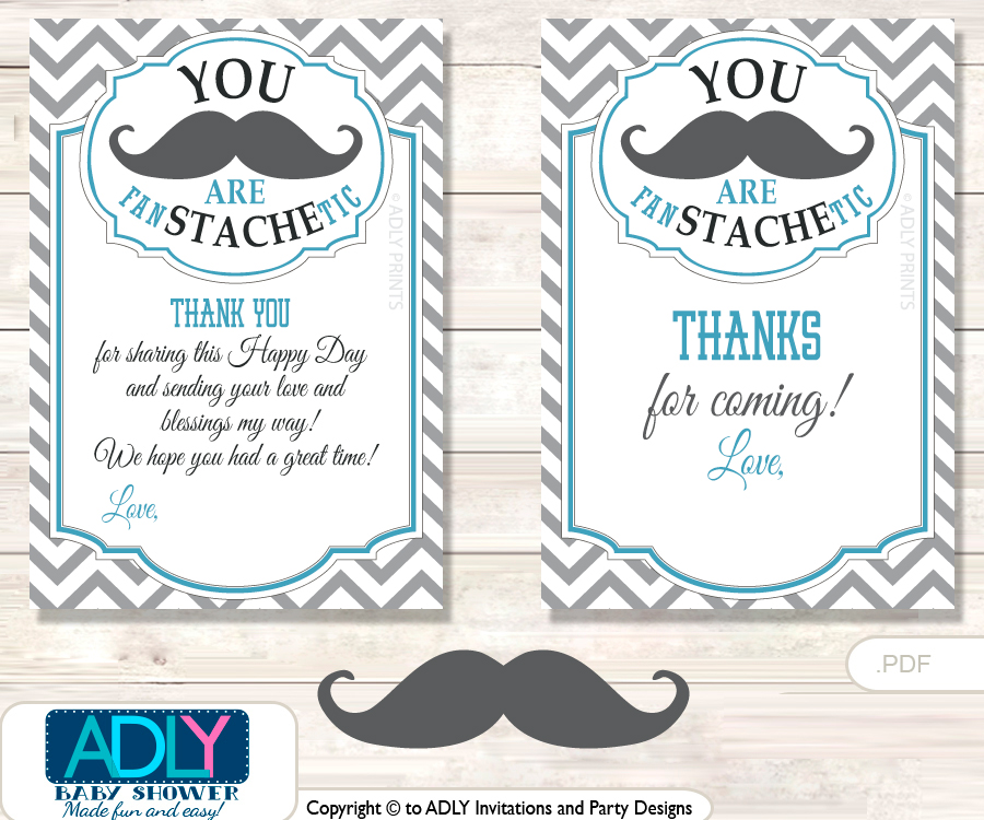 Man Mustache Thank You Cards For A Baby Man Shower Or Birthday Diy