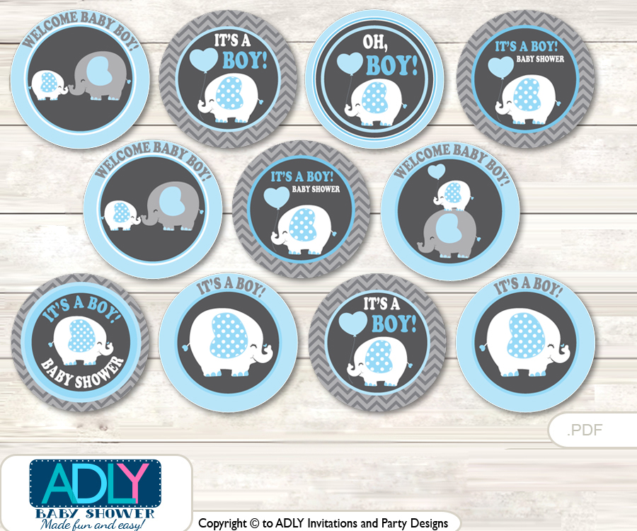 Baby Shower Boy Elephant Cupcake Toppers Printable File For Little