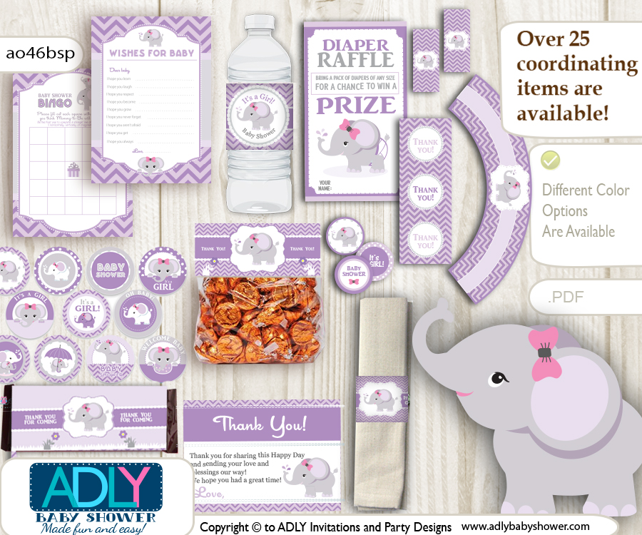 photograph about Printable Elephant Baby Shower named Red Lilac Elephant Child Woman Shower Printable Bash Package with woman youngster elephant, chevron, polka, violet, grey- Simply just electronic history