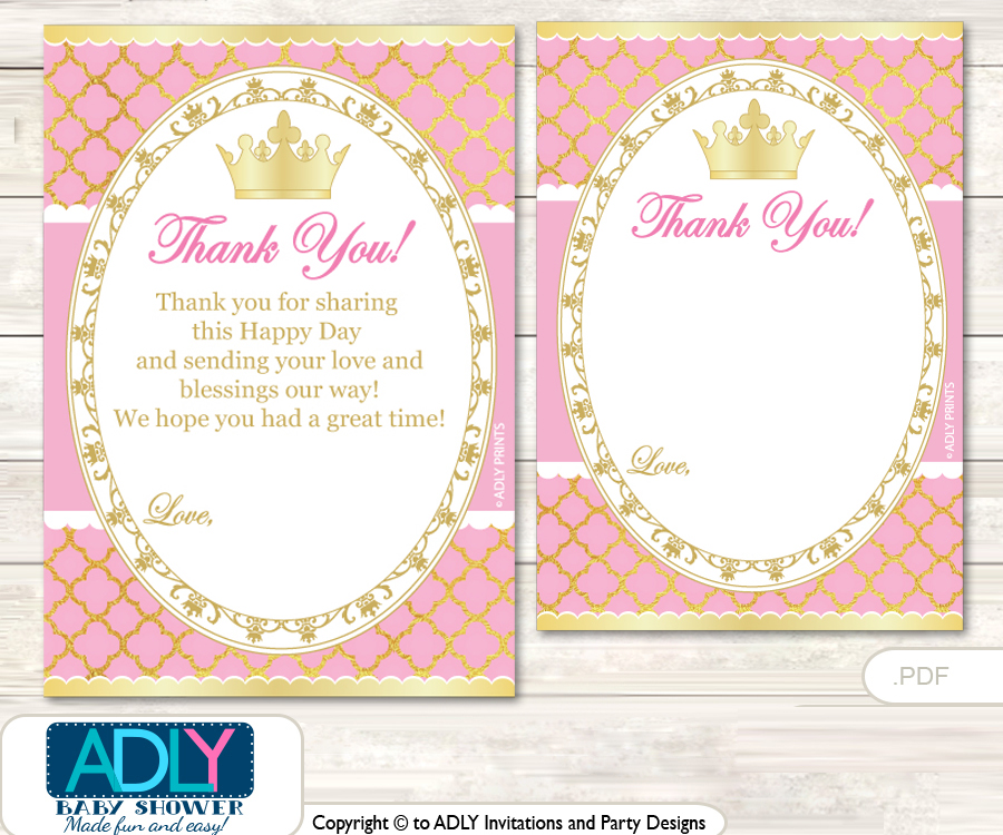 Pink Princess Thank You Cards For A Baby Pink Shower Or Birthday Diy
