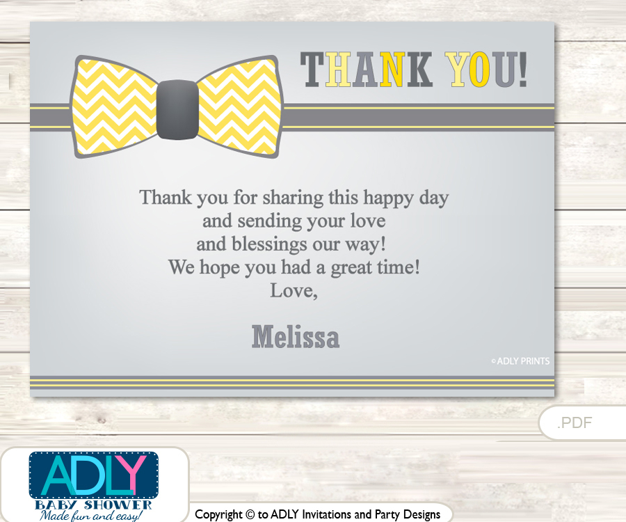 photo relating to Printable Man Card titled Minor Guy Bow Tie Thank by yourself Printable Card with Standing Personalization for Child Shower or Birthday Bash